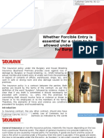 Whether Forcible Entry is Essential for a Claim to Be Allowed Under the Policy for Burglary