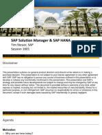 SAP Solution Manager and SAP HANA