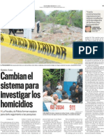 Cambian el sistema para investigar los homicidios
