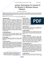Review of Prevention Techniques for Denial of Service Dos Attacks in Wireless Sensor Network