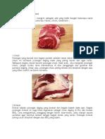 Jenis Potongan Daging Steak