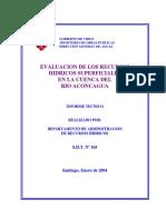 Evaluacion de Los Recuros Hidricos Superficiales en La Cuenca Del Rio Aconcagua