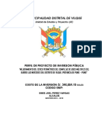 """PERFIL DE PROYECTO DE INVERSION PÚBLICA """"MEJORAMIENTO DEL CERCO PERIMÉTRICO DEL COMPLEJO DE USOS MÚLTIPLES DEL BARRIO LAS MERCEDES DEL DISTRITO DE VILQUE, PROVINCIA DE PUNO – PUNO"""""""