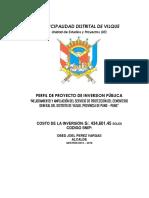 """PERFIL DE PROYECTO DE INVERSION PÚBLICA """"MEJORAMIENTO Y AMPLIACIÓN DEL SERVICIO DE PROTECCIÓN DEL CEMENTERIO GENERAL DEL DISTRITO DE VILQUE, PROVINCIA DE PUNO – PUNO"""""""