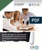 Master Europeo en Intervención Psicoeducativa en Alteraciones de Conducta en Niños de 0 a 13 años