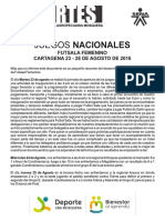 Informe - Juegos Nacionales Futsala Femenino - Cartagena 2016