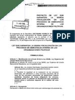 PROYECTO DE LEY Nº 129 QUE GARANTIZA LA DEBIDA FISCALIZACIÓN EN LOS PROCESOS DE DEMOCRACIA INTERNA DE LAS ORG POLITICAS.pdf