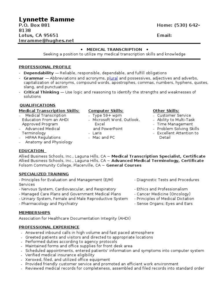 Jobswire Resume Of Lmramme Medicine Service Industries