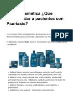 Dermocosmética ¿Que recomendar a pacientes con Psoriasis_ _ Dorys Perez Mautone