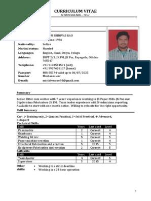 Iti Fitter Resume Machines Mechanical Engineering