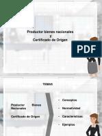 Productor Bienes Nacionales y Certificado de Origen