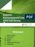 Roberts Environmental Center 2016 Fall Hiring