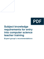 Subject Knowledge Requirements for Entry Into Cs Teacher Training