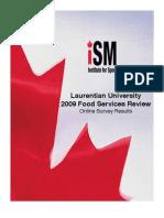 Laurentian University 2009 Food Services Review