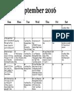 Calendar, September 2016