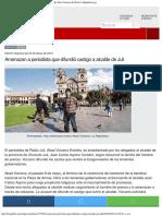 Amenazan a Periodista Que Difundió Castigo a Alcalde de Juli Noticias Del Perú