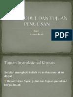 Modul 3. Topik, Judul Dan Tujuan Penulisan