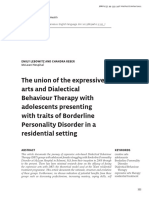 dbt the union of the expressive arts and dialectical behaviour therapy with adolescents presenting with traits of borderline personality disorder in a residential setting