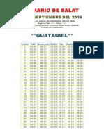 Horarios de Salats SEPTIEMBRE 2016 Ecuador
