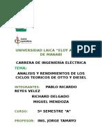 Analisis y Rendimiento Ciclos Teoricos Otto y Diesel