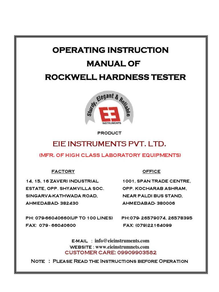 Rockwell hardness tester hardness screw geenschuldenfo Gallery