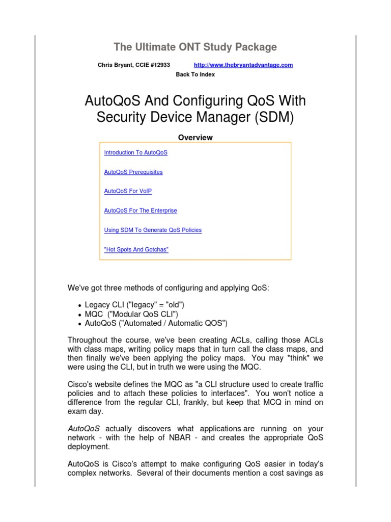 Autoqos And Configuring Qos With Security Device Manager (Sdm)