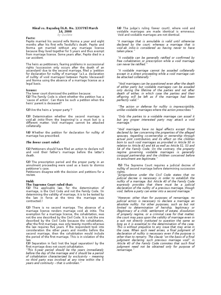 Family Code Articles 1 34 Case Digests | Marriage | Divorce