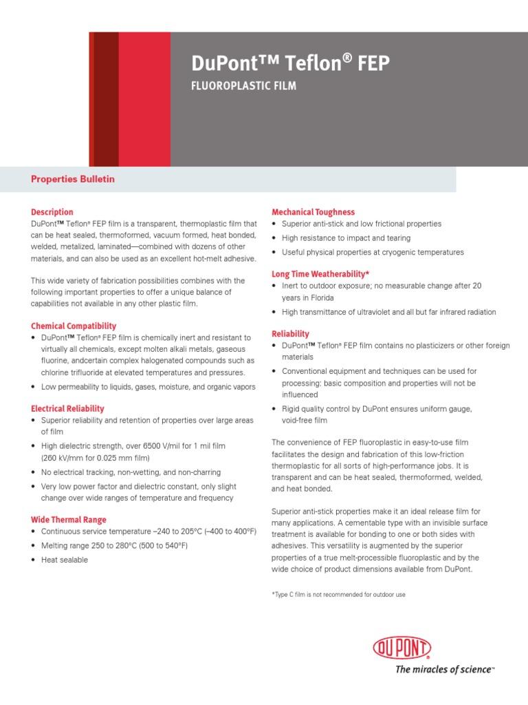 Chemours Teflon FEP Film Properties Bulletin K26941