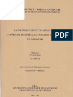 Tests S2 La Politique Du Petit Credit Dans La Periode de Dereglementation Financiere en Indonesie By Marsuki DEA