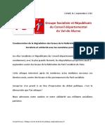 Communiqué du Groupe Socialiste et Républicain. Dégradation Des Locaux de La Fédération PS de Paris