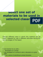 Select One Set of Materials to Be Used
