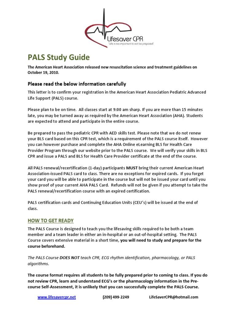 pals life cardiopulmonary resuscitation cardiovascular physiology rh scribd com Pals Study Guide 2012 Pals Respiratory Algorithms