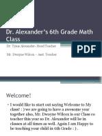 Dr. Alexander's 6th Grade Math Class