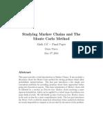 Brief Study of Markov Chains