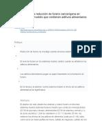 La Formación y La Reducción de Furano Cancerígena en Varios Sistemas Modelo Que Contienen Aditivos Alimentarios