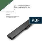 Batería Original HP 2560P 2570P QK644AA 632015