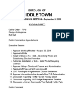 Draft agenda for Sept. 6 2016 meeting of Middletown Borough Council