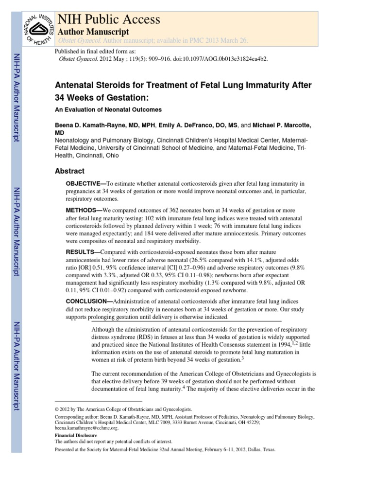 Steroids For Lung Maturity