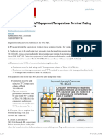 Equipment Temperature Terminal Rating for Sizing Conductors