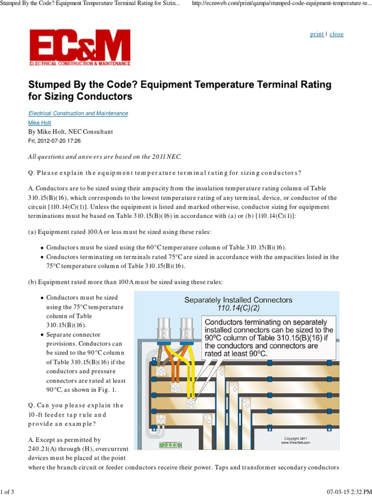 Equipment temperature terminal rating for sizing conductors equipment temperature terminal rating for sizing conductors electrical conductor cable greentooth Image collections
