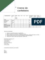 Ficha Técnica de Preparação - Creme de Confeiteiro