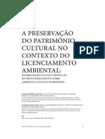 A PRESERVAÇÃO DO PATRIMÔNIO CULTURAL NO CONTEXTO DO LICENCIAMENTO AMBIENTAL