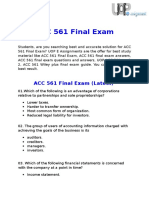 UOP E Assignments - ACC 561 Final Exam Answers Free
