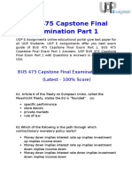 UOP E Assignments | BUS 475 Capstone Final Examination Part 1 Answers Free