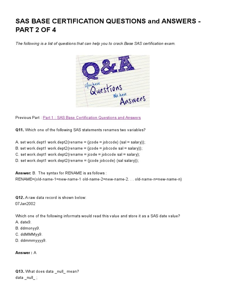 Sas Base Certification Questions And Answers Part 2 Of 4 Listen