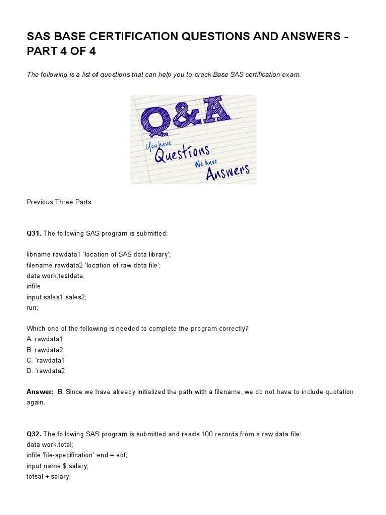 Sas base certification questions and answers part 4 of 4 sas base certification questions and answers part 4 of 4 listen datapdf sas software variable computer science 1betcityfo Images