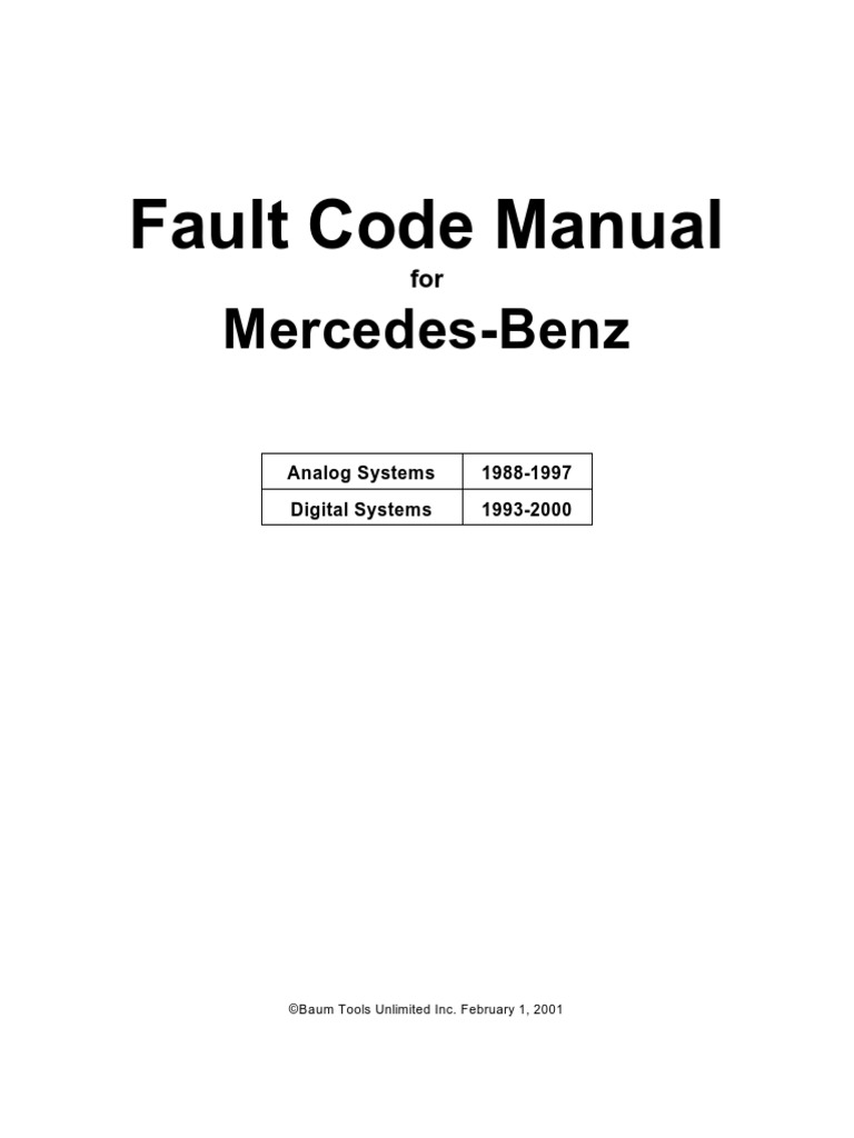 Mercedes Benz Fault Code Manual | Throttle | Fuel Injection