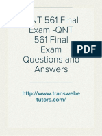 QNT 561 Final Exam -QNT 561 Final Exam Questions and Answers - Transweb E Tutors