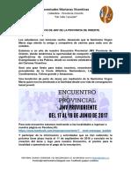 Carta Encuentro Provincial JMV Oriente 2017