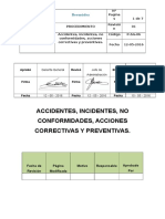 Accidentes Incidentes No Conformidades Acciones Correctivas y Preventivas.